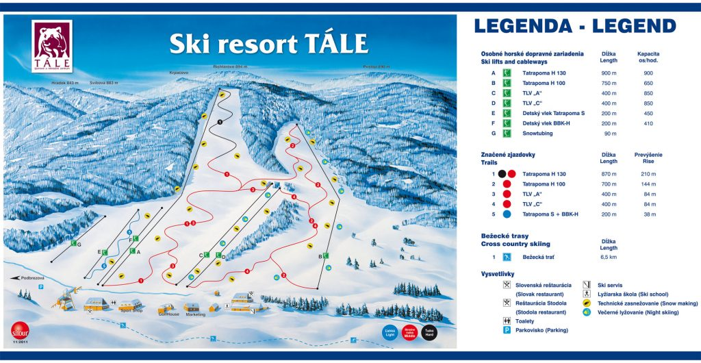 Tále mapa lyžiarských-tratí
