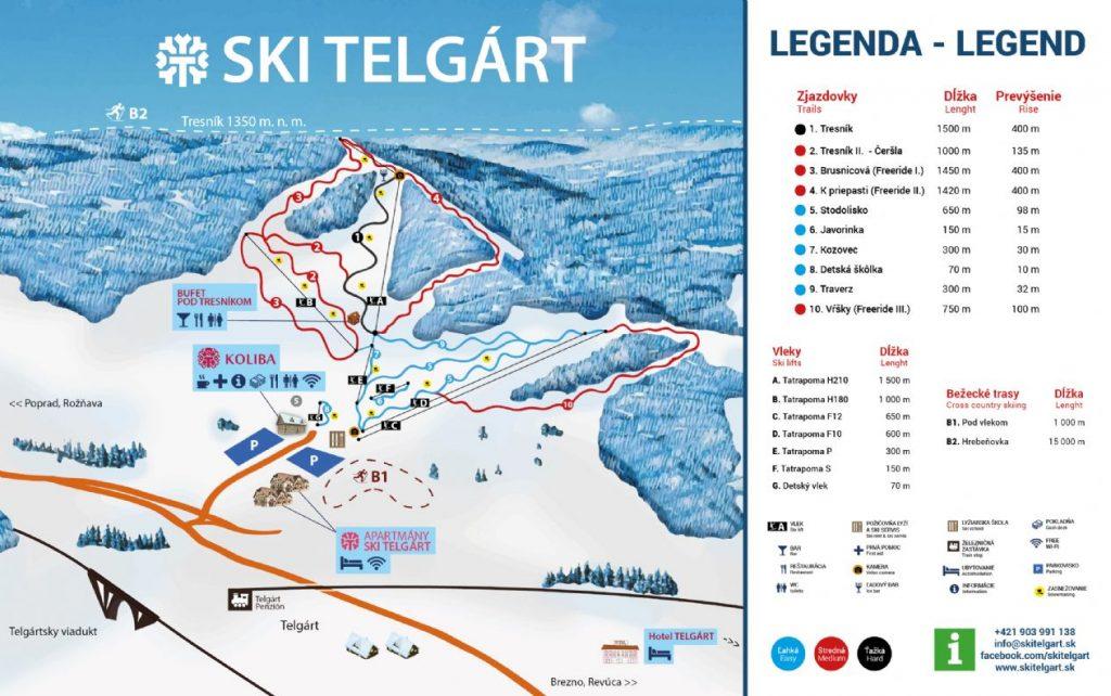 ski Telgart mapa