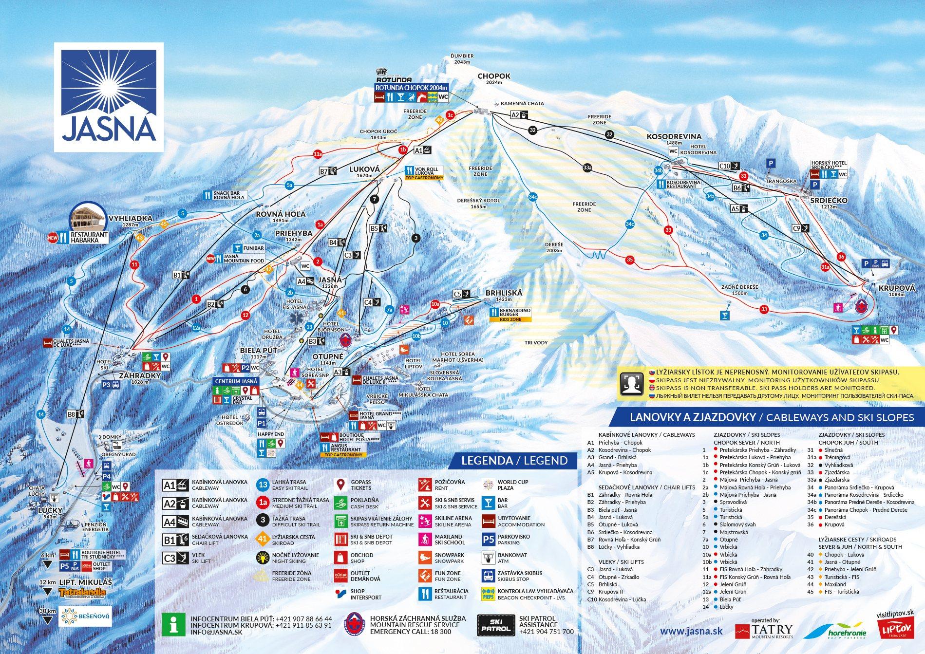 Jasna Nízke Tatry mapa